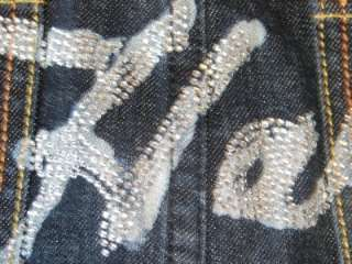 NWOT ED HARDY Blue Jean CRYSTAL BLING DENIM SKIRT 28