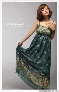 women Bohemian Maxi Long Dresses Sleeveless Flowers Beach Sundress