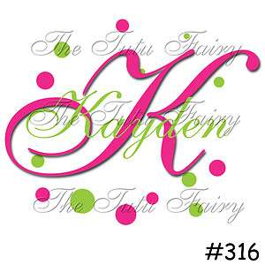 hot pink green monogram initial name portraits baby infant toddler