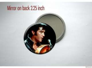 Elvis Presley black leather Pocket /Purse Mirror
