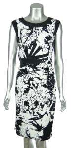 Jones New York Women Black & White Print Jersey Knit Sleeveless Dress