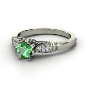 Elizabeth Ring, Round Emerald 14K White Gold Ring with Diamond
