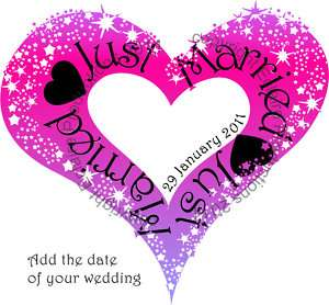 Just Married Bride/Wedding iron on t shirt transfer