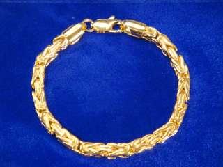 NEW 14K GOLD GP 6mm BYZANTINE 7.5 BRACELET WRIST CHAIN SHIPS FREE