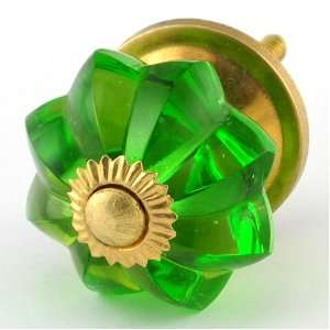 Emerald Green Glass Cabinet Knobs 10pc Cupboard Drawer Pulls & Handles