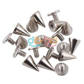 10PCS 10mm Metal Cone Screwback Spikes Stud Punk Bracelet Leather Bag
