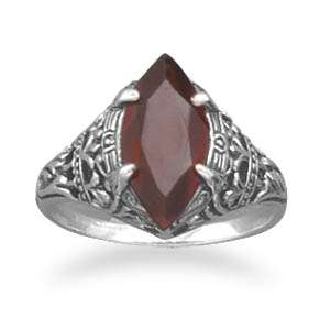 Sterling Silver Vintage Style Red Garnet Ring Size 5 9