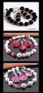 White Bracelet Handmade Silver Crystal Pearl * UK * made with