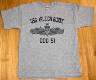 US USN Navy USS Arleigh Burke DDG 51 Destroyer T Shirt