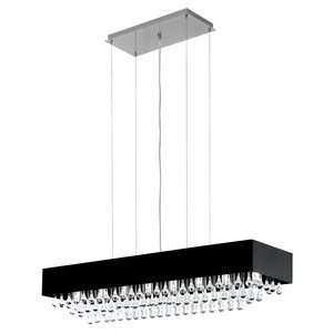 Eglo 88203A Camini, Black and Chrome/Clear Crystals, 8 Light Pendant