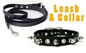 COLLAR and LEASH Set 4 foot lead Spiked/Studded/Spikes/Studs