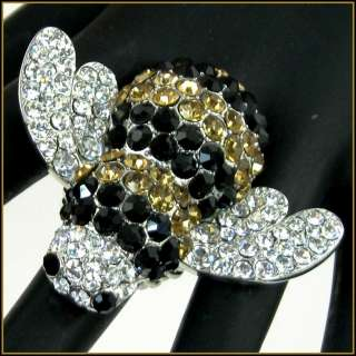 HuGe ToPaz & Black CRYSTAL BUMBLE BEE COCKTAIL Statement BLING Ring