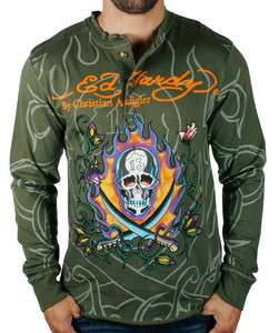 ED HARDY Christian Audigier Mens Swords Long Sleeve Button Henley