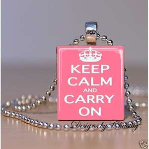 Keep Calm and Carry On Pretty Pink Princess Scrabble Charm Pendant