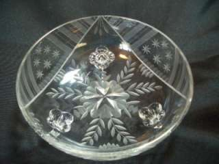 Beautiful Antique Etched Stars and Stripes Pattern Crystal Bowl