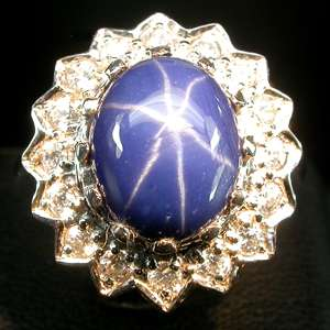 FLAWLESS TOP DEEP BLUE STAR SAPPHIRE 925 SILVER RING