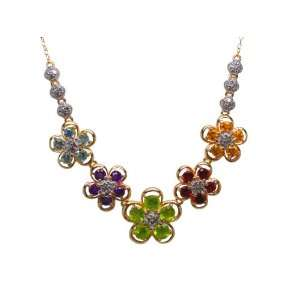 Diamond and Multi Colored Gemstone Gold Plated Necklace, 18 Jewelry