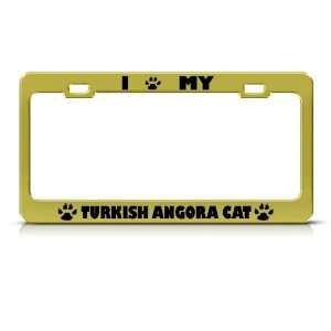 Turkish Angora Cat Animal Metal license plate frame Tag