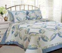 NEW Double Wedding Ring Blue Green T Quilt Set Coverlet