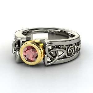 Celtic Sun Ring, Round Red Garnet Sterling Silver Ring