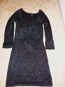 White House Black Market Sparkle Ribbed Black Long Sleeve Sweater