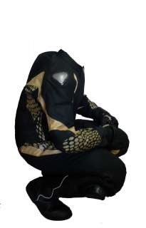 Matte Black Gold Leather Motorcycle Racing Suit 1pc
