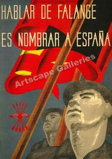 Hablar de Falange Spanish Civil War Poster   17x24