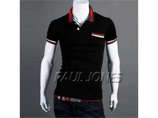 HQ708 Mens Fashion Short Sleeve Polo Shirt T shirt Tops Blouse 4Sizes