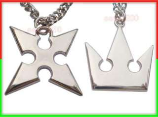 Kingdom Hearts Sora Crown & Roxas Cross Necklaces 2 Pcs