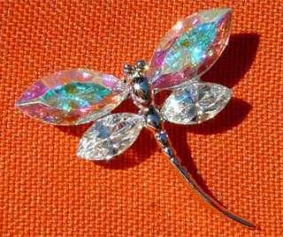 Swarovski Clear Crystal Bridal Wedding SEXY AB ~DRAGONFLY Pin Brooch