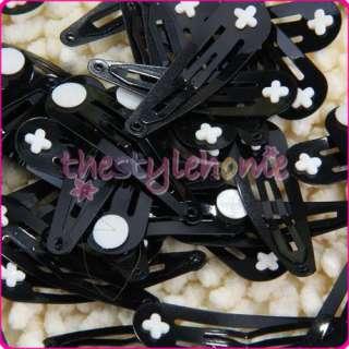 50 x 5cm Black Baby Snap Hair Clips w Pad/Girl Hair Bow