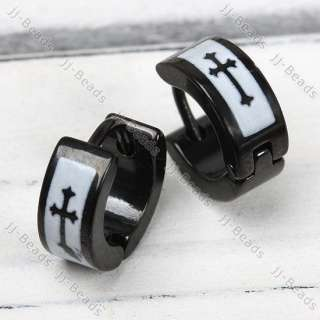 PAIR BLACK STAINLESS STEEL ROUND HOOP CROSS EARRING