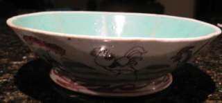 Chinese Porcelain Export Bowl Antique Roosters Blue & White Peony