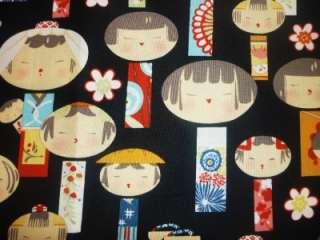 FQ CHINESE JAPANESE KOKESHI DOLLS FABRIC ORIENTAL