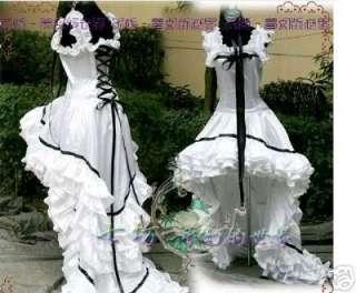 Chobits Cosplay costume Black White Gothic Lolita Dress