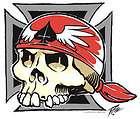 Grover Chrome Skull Artist Strap Buttons Iron Cross