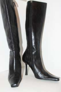 ALDO TALL BLACK LEATHER BOOTS SIZE 38 HIGH 4 INCH HEELS