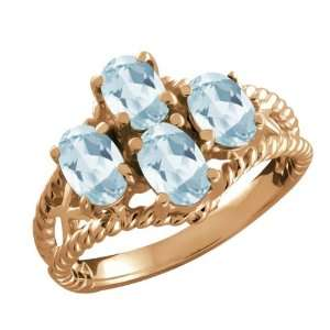 20 Ct Genuine Oval Sky Blue Topaz Gemstone 18k Rose Gold Ring Jewelry