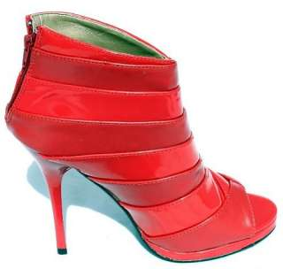 Booties Lady Boots Jewel Tones Simply Red Patent Leather Womens Shoes