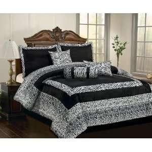 Faux Silk Black / White Comforter Set Bedding in a bag