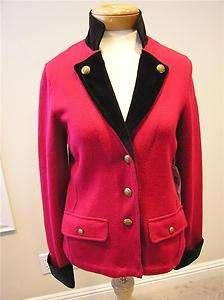 Lauren Red/black military style cotton sweater cardigan velvet colar M