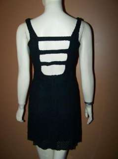 Vintage Sheer Black Puckered 80s MINI Dress & Bolero Backless Strappy