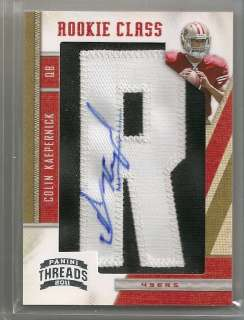 2011 Panini Threads COLIN KAEPERNICK Auto Patch Rookie /500 |