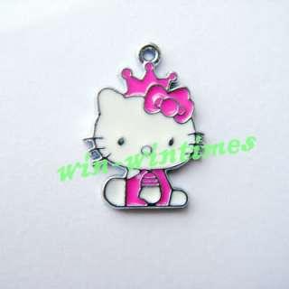 10 pcs HELLO KITTY cat HOT PINK crown sit DIY Metal Charms Pendants F