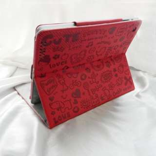 The New iPad 3rd Magnetic Smart Cover PU Leather Case Cute Embossed