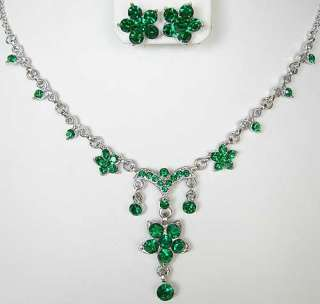 Emerald Green Swarovski Crystal Necklace Earrings Set FREE SHIP