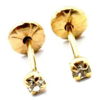 Gold 18k GF Swarovski White Crystal Earrings Childs Baby Girl Safety