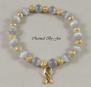 BRAIN CANCER Awareness Cats Eye & Filigree Bracelet