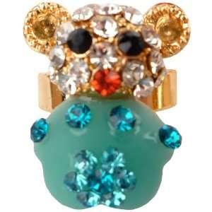Cute Green Teddy Bear Crystal Gem Jeweled Adjustable