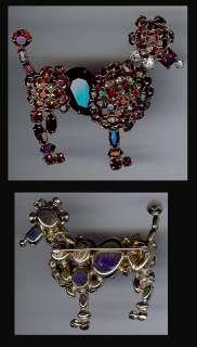 SCHREINER NEW YORK VINTAGE CHERRY RED RHINESTONE POODLE DOG PIN
